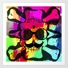 old vintage funny skull art portrait with painting abstract background in red purple yellow green Art Print
