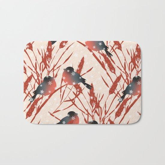 Winter pattern with bullfinches. Bath Mat