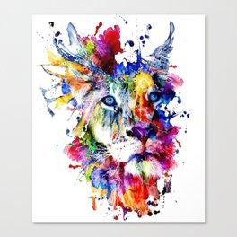 Colorful Lion, Lion Face Canvas Print