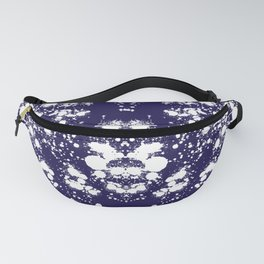 Rorschach Inspired White Ink Blot On Blue Fanny Pack