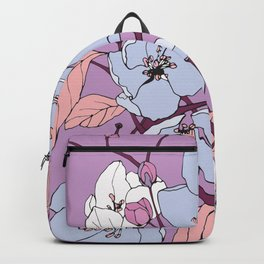 In Bloom - Blossoming Spring Crabapple Flowers in Pink, Purple, and Blue Backpack