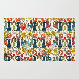 Swedish folksy cats and birds Rug