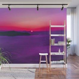 purple sunset in Fira Santorini Wall Mural