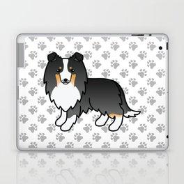 Tricolor Shetland Sheepdog Dog Cartoon Illustration Laptop & iPad Skin
