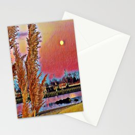 Moon Over The Harbor Stationery Cards