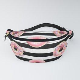 Pink donuts pattern on a black stripes pattern Fanny Pack
