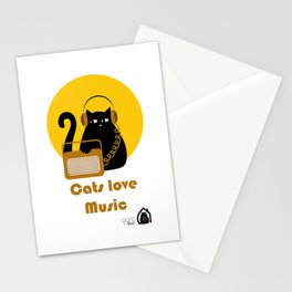 Cats love Music by Qora & Shaï Stationery Cards
