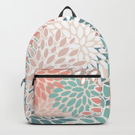 Festive, Floral Prints, Teal, Peach, Coral, Abstract Art, Colour Prints Backpack