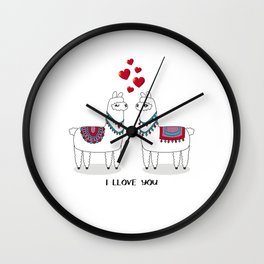 I llove you llama couple with hearts in love Wall Clock
