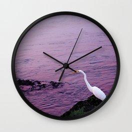 White Egret at Sunset Wall Clock
