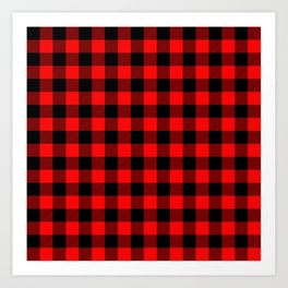 Jumbo Valentine Red Heart Rich Red and Black Buffalo Check Plaid Art Print