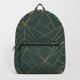 Olive Gold Geometric Pattern With White Shimmer Backpack