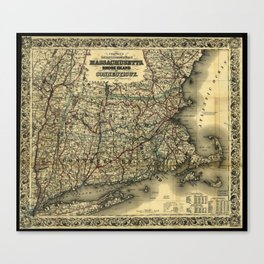 Vintage Map of Southern New England: Connecticut, Rhode Island, and Massachusetts Canvas Print