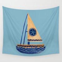 sailboat Wall Tapestries featuring The Tribal Sailboat by haidishabrina