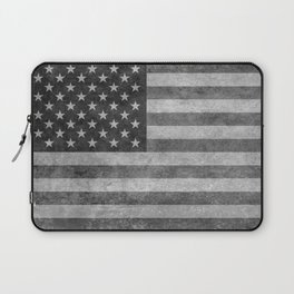 US flag - retro style in grayscale Laptop Sleeve