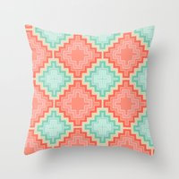 kilim Throw Pillows featuring coral mint kilim by musings