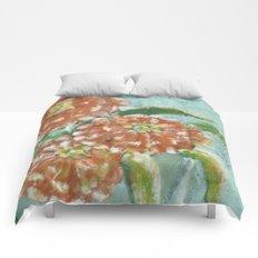 Orange Zinnias Comforters