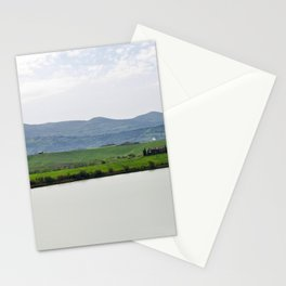 Beautiful spring morning froggy landscape in Tuscany countryside, Italy. Lake Santa Luce Stationery Cards