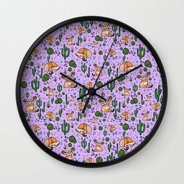 Cute Cactus and Fennec Fox Wall Clock