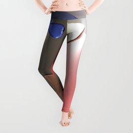 Golden puzzle joins blue and pink puzzle pieces - 3D rendering Leggings