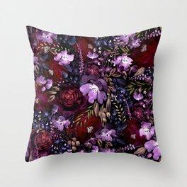 Deep Floral Chaos Throw Pillow