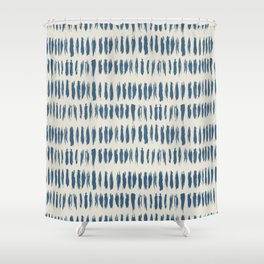 Blue & Linen White Bold Grunge Vertical Stripe Dash Line Pattern Pairs To 2020 Color of the Year Shower Curtain