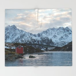 Lofoten winter Throw Blanket