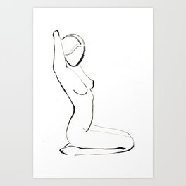Nude Model Drawing Art Print