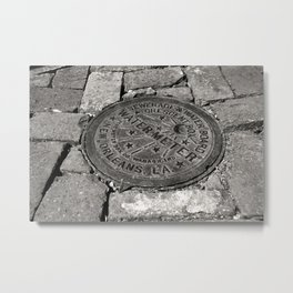 New Orleans Water Meter Cover, Black and White Photo, Crescent City Box Cover, New Orleans Wall Art Metal Print