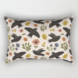 Autumn Birds in Flight Pattern Rectangular Pillow