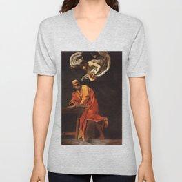 Michelangelo Merisi da Caravaggio - The Inspiration of Saint Matthew Unisex V-Neck