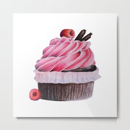 Chocolate Raspberry Cupcake Metal Print