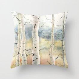 Tender Birch Forest Throw Pillow