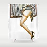 run Shower Curtains featuring Run by Gouzelka