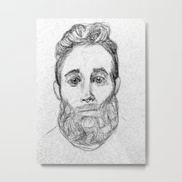 Sketchy Sweet Beardy Man Metal Print