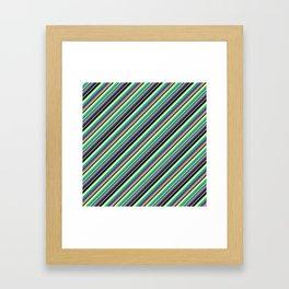 Summer Flowers Inclined Stripes Framed Art Print