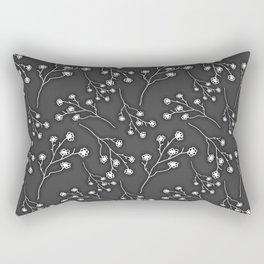 Baby's Breath Flower Pattern - Black Rectangular Pillow