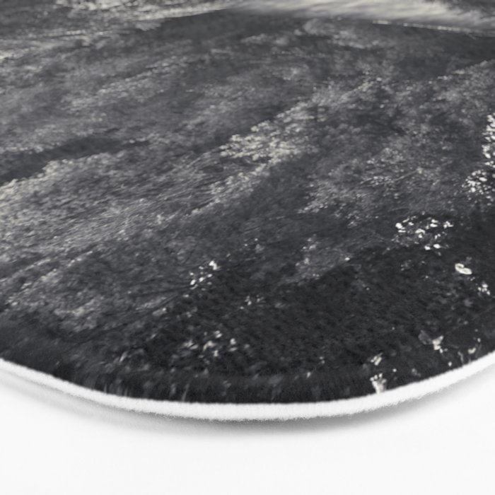River in Black and Silver Bath Mat