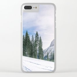 Alpine road through the snow Clear iPhone Case