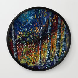 Moonlight Sonata With Aspen Trees Palette Knife Painting Wall Clock