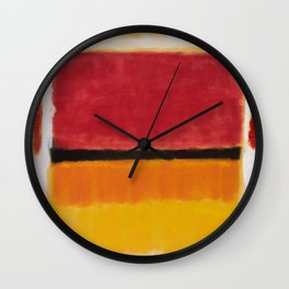 1949 Untitled (Violet, Black, Orange, Yellow on White and Red) by Mark Rothko Wall Clock