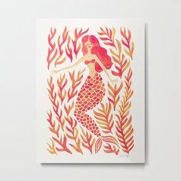 Kelp Forest Mermaid – Peach Palette Metal Print
