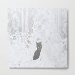 Black Cat White Snow #decor #society6 Metal Print