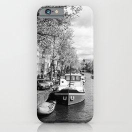 Boats on Amsterdam canal iPhone Case