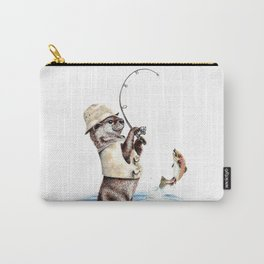 """ Natures Fisherman "" fishing river otter with trout Carry-All Pouch"