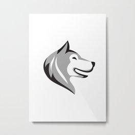 Husky Dog Head Retro Metal Print