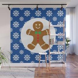 Christmas / Winter Gingerbread Man Snowflakes Blue Wall Mural