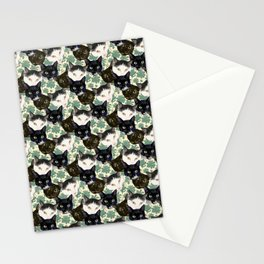 Multicolor Kitty Cats with Pachysandra Leaves Stationery Cards