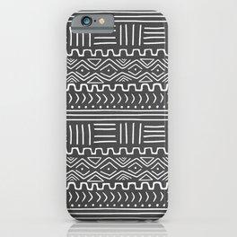 Mud Cloth on Gray iPhone Case