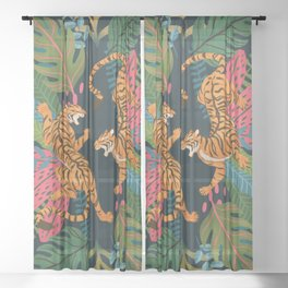 Jungle Cats - Roaring Tigers Sheer Curtain